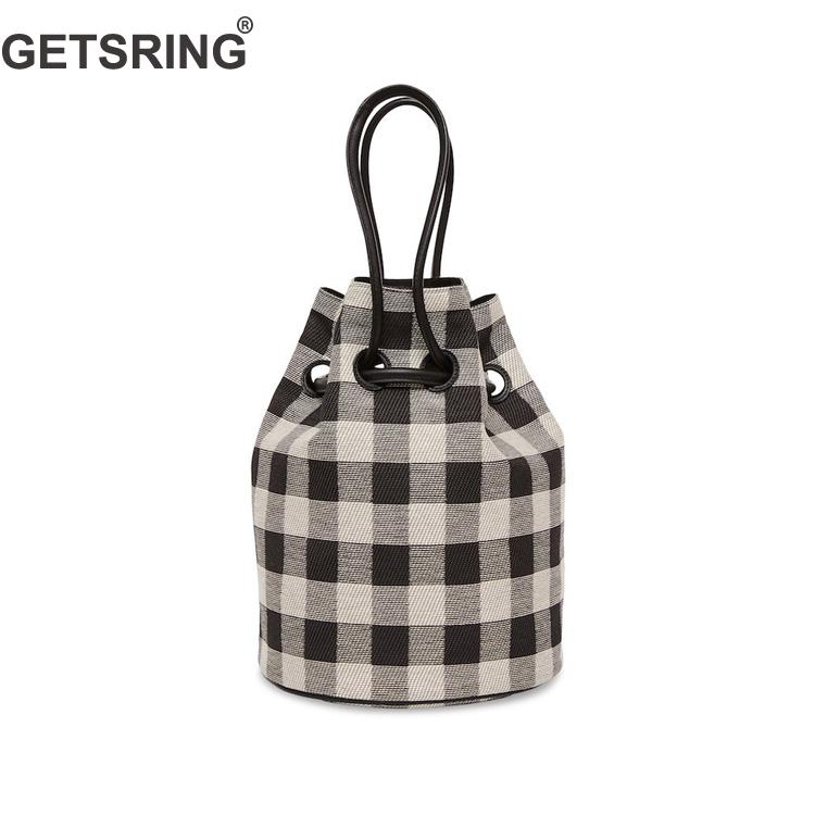 Bag Handbags Canvas Plaid Drawstring Bucket Pink Black Vintage Handbags