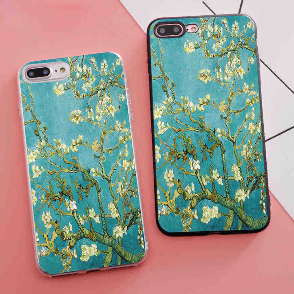 Mewah Tritone Van Gogh Cabang Almond Tree In Bloom Silikon Phone Case untuk iPhone X 5 S SE 6 S 6 S 7 7 Plus Cover