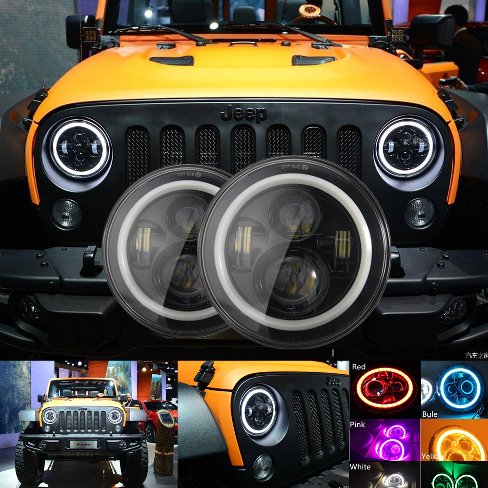 Angel Eyes 7'' LED Headlight H4 Hi-Lo Beam 7600LM Front Driving Headlamp Styling Head Light For Jeep Wrangler JK TJ LJ 6 Colors