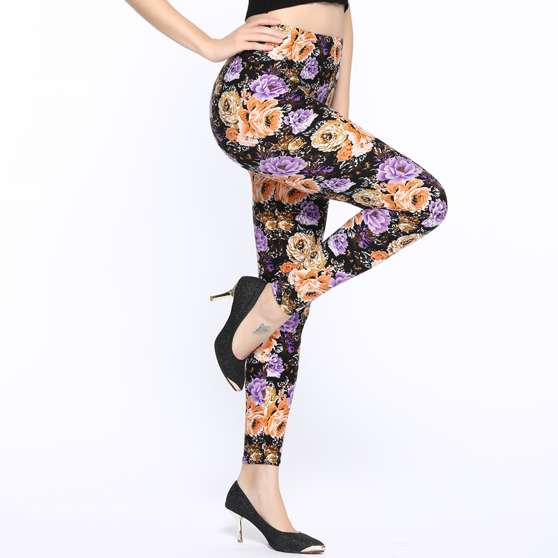Hot Sale 2019 Spring and Autumn Flowers Printing High Waist Leggings Pant Casual Women Print Elasticity Fitness Leggins Female