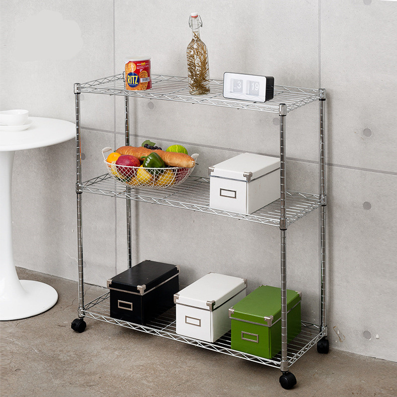 Stainless steel movable shelves  Household kitchen storage shelves 3 layers Bathroom Shelves Stainless steel movable shelves  Household kitchen storage shelves 3 layers Bathroom Shelves
