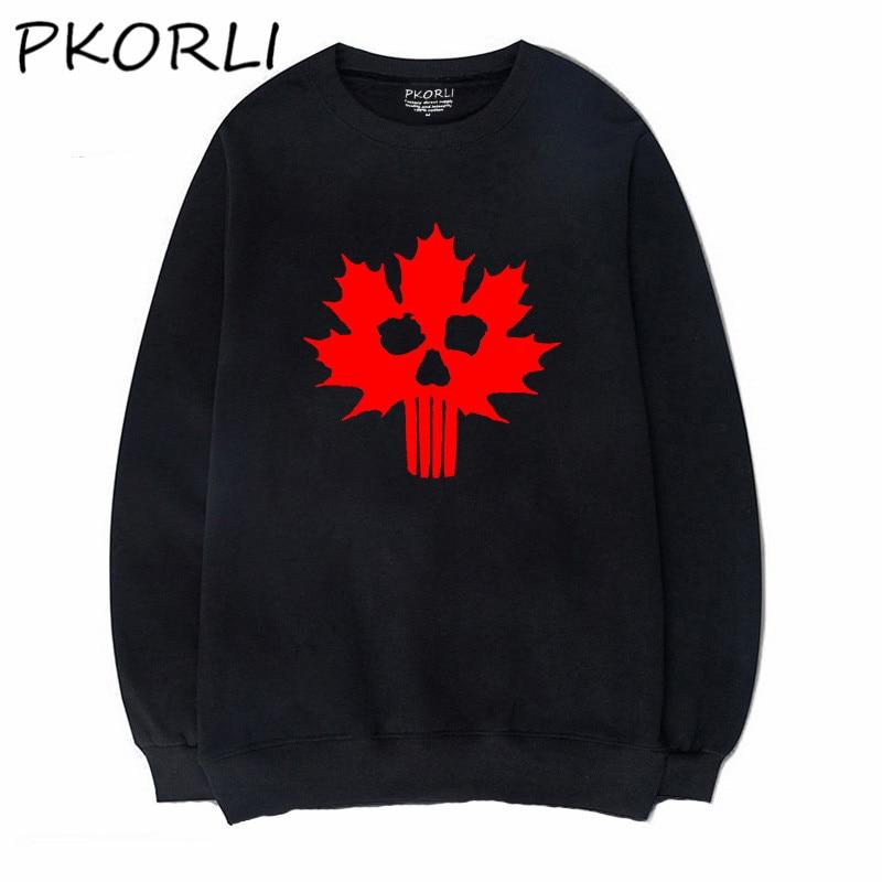 Pkorli Men Hoodie Canada Sweatshirt Canadian Skull Flag Distressed Maple Leaf Sweat Home Tracksuit Fleece Warm Hoody S-XXXL