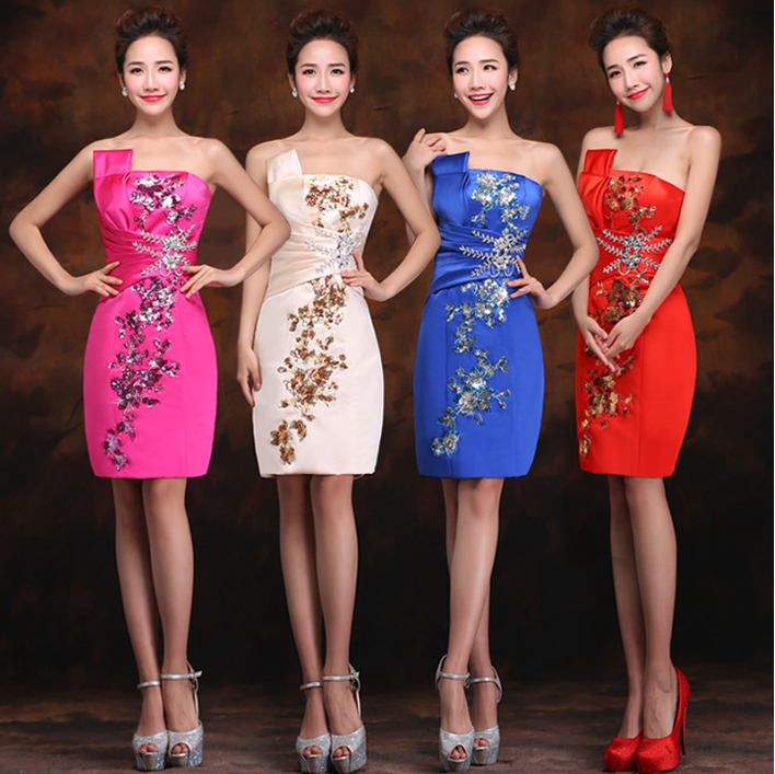 fashion fuchsia red champagne satin chinese mini sheath red strapless   bridesmaid     dress   blue formal women bridemaid   dresses