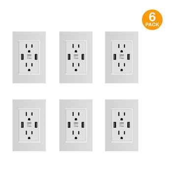 US Standard Dual USB Wall Socket,Double 2.1A Universal Plug Socket Port Power Adapter Outlets,Tamper Resistant Duplex Receptacle - DISCOUNT ITEM  32% OFF All Category