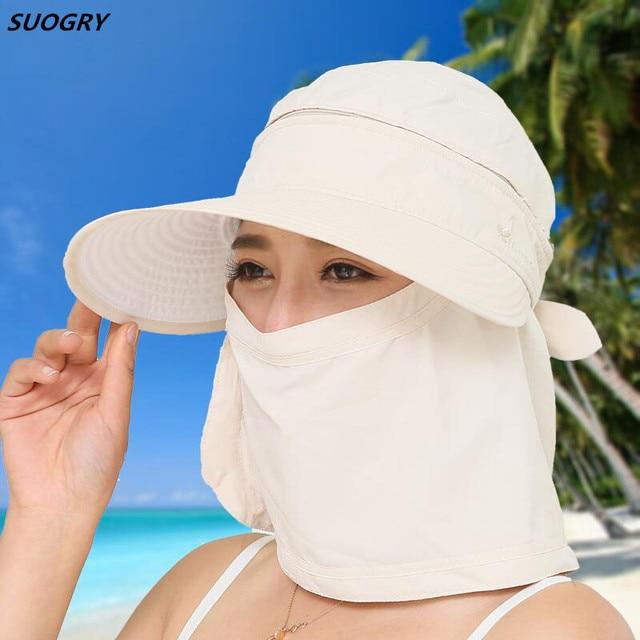 1172b244ad7db Women Foldable Snapback Sun Hat Lady Summer Beach Hat With Face Neck Cover  UV Protection Fishing Cap Panama Visors Female