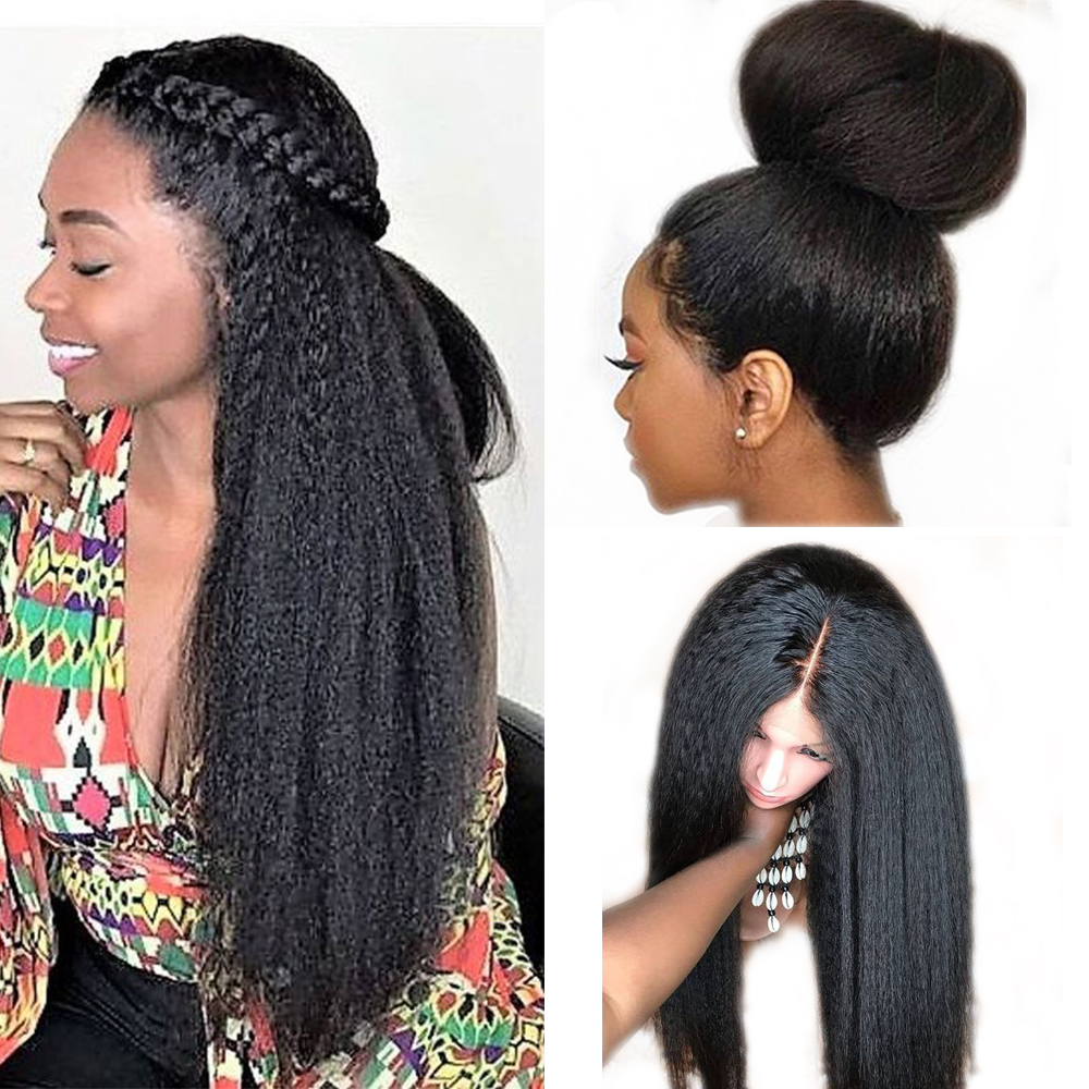 360 Lace Frontal Wig Kinky Straight Brazilian Lace Front Human Hair Wigs Pre Plucked Remy Human Hair Wigs For Black Women