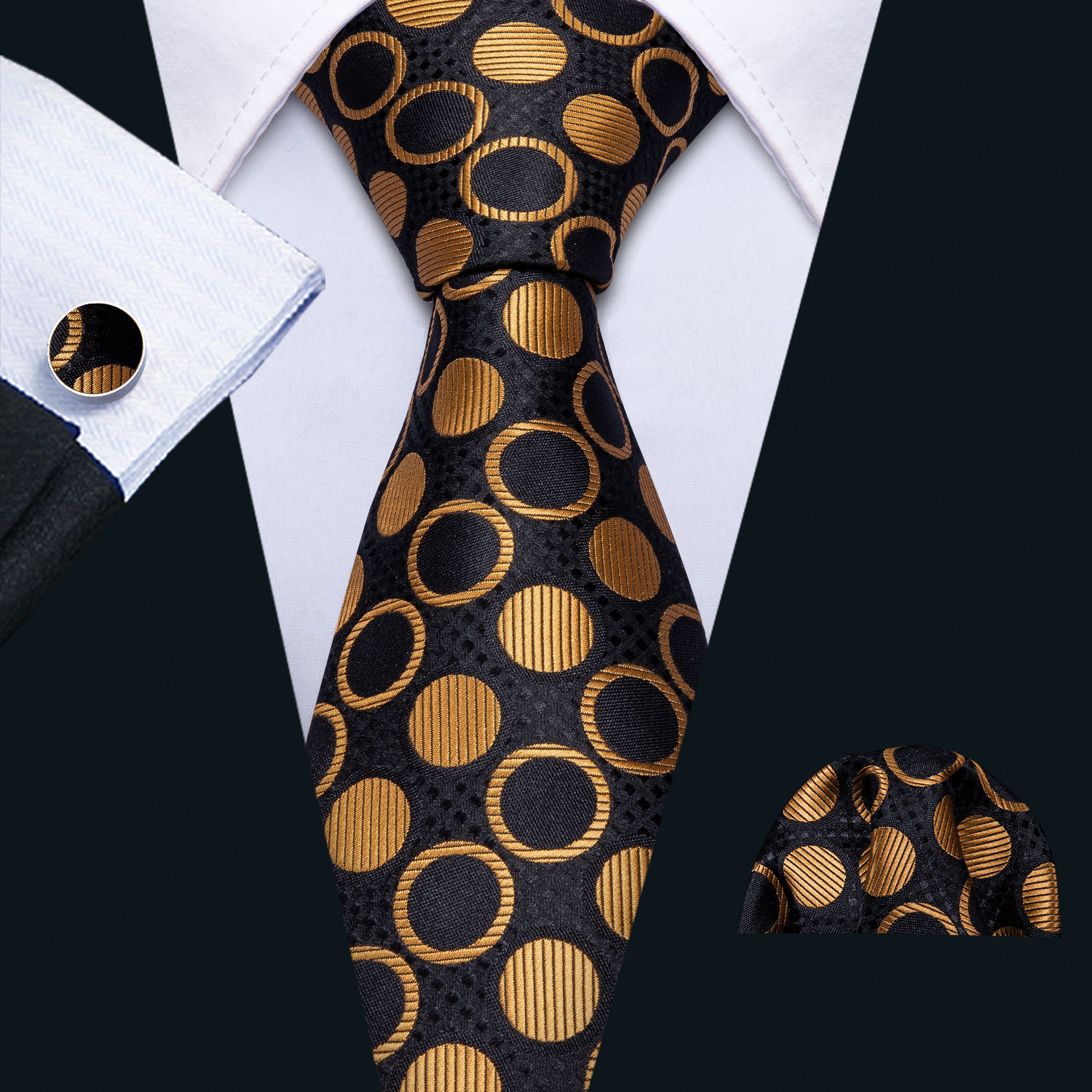 2019 Mens Wedding Tie Gold Dot Silk Tie Hanky Set Barry.Wang Jacquard Party Woven Fashion Designer Neck Ties For Men FA-5137