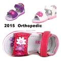 Супер качество 1 пара девушки детей кожа ортопедической обуви, Марка дети мода сандалии, Новинка обувь
