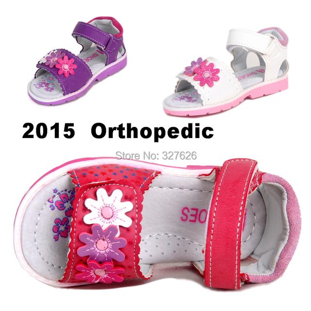 Calidad estupenda 1 par muchacha de los niños de cuero zapatos ortopédicos, los niños de la marca sandalias de moda, nuevo diseño de los zapatos
