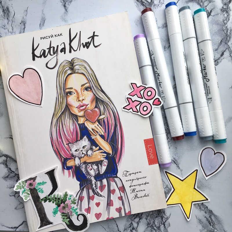 Marqueur d'art 30/40/60/80/168 couleurs marqueurs de stylo à base d'alcool marqueurs de croquis à double tête stylo de brosse pour dessiner des fournitures d'art de conception de Manga