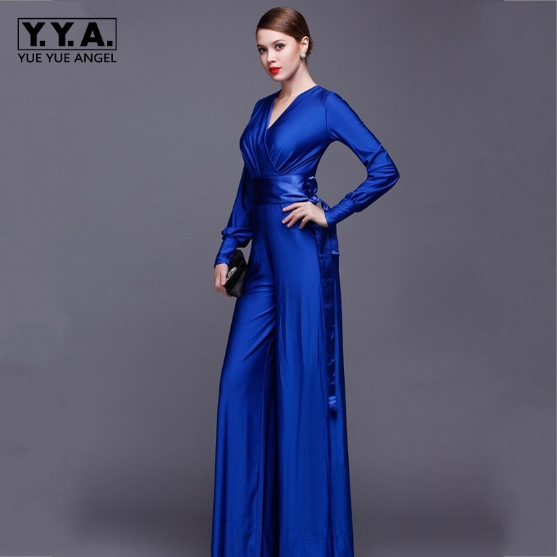 Fashion Women Long Sleeve Sexy V Neck Wide Leg Rompers Belted High Waist Jumpsuits Long Office Ladies Outfits Jumpsuit Big Size