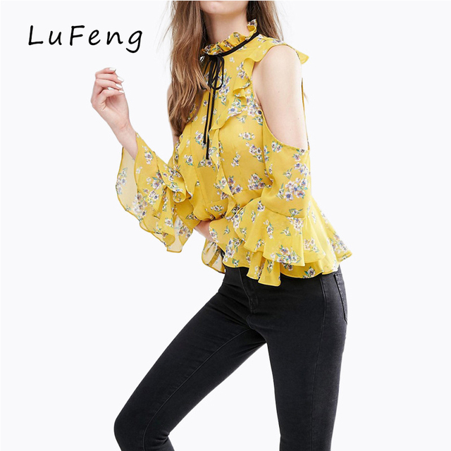 9982b3ab8b4 Off Shoulder Top Yellow Spring Autumn Blusas Women Floral Print Long Sleeve  Ruffle Chiffon Blouse Tunic