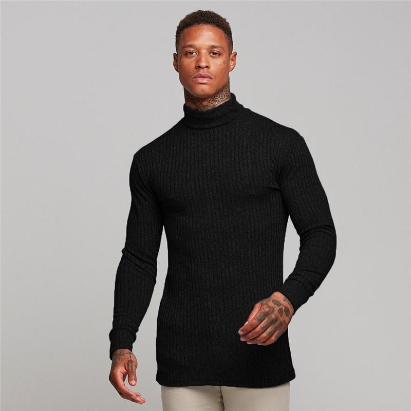 Muscleguys New Spring High Neck Warm Sweater Men Fashion Brand Turtleneck Mens Sweaters Slim Fit Pullover Men Knitwear Male