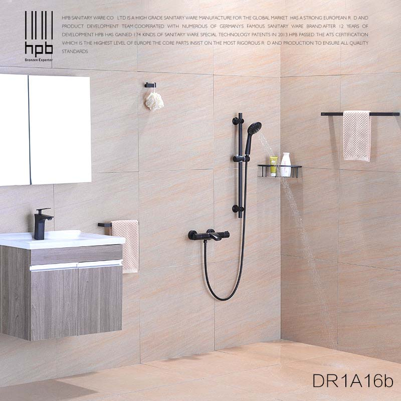 HPB Solid Brass 2 Function Massage Shower System Thermostatic Faucet with Hand Shower Slide Bars Shower Sets Wall Mounted DR1A16