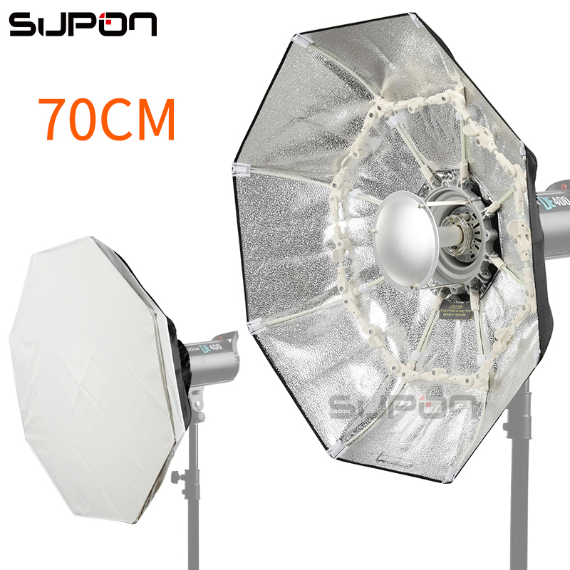 SUPON 70cm Photo studio Foldable Beauty Dish Speedlite Octabox Umbrella Softbox inner Sliver/ Diffsuer selens 65cm diffuser reflector parabolic umbrella beauty dish softbox for off camera flash