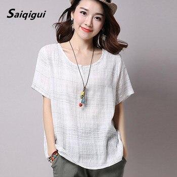 Saiqigui Plus Size 2017 Summer Style Women Blouses Casual Loose Cotton Linen Blouse half Sleeve Shirts Women Tops blusas M-XXL Top