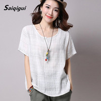 Plus Size 2016 Summer Style Women Blouses Casual Loose Cotton Linen Blouse Half Sleeve Shirts Women