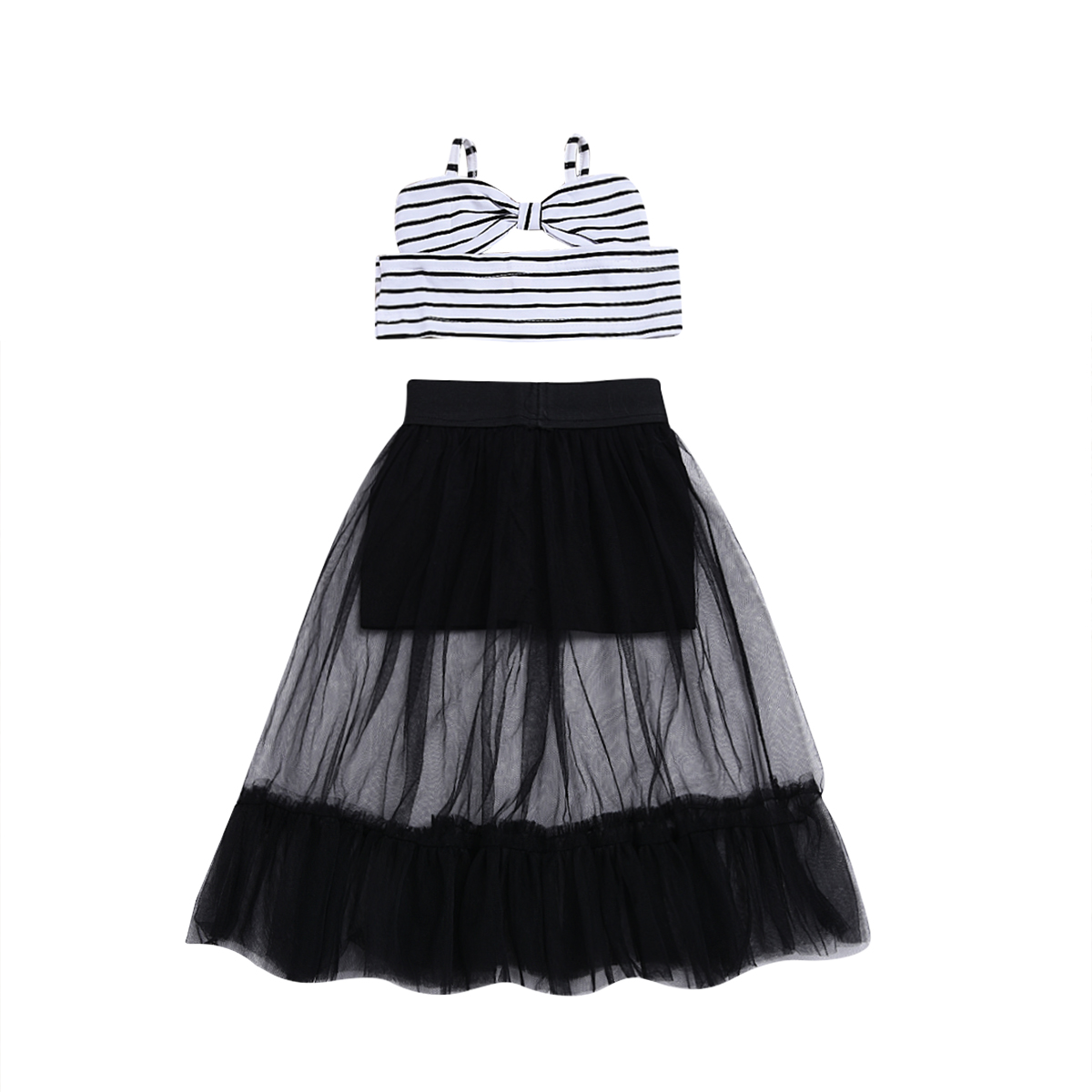 Fashion Kids Baby Girls Outfits Off Shoulder Striped Crop Tops Voile Ruffles Skirt Outfits 2018 Summer Baby Clothes 2016 summer baby child girls outfits ruffles shorts white striped watermelon boutique ruffles clothes kids matching headband set