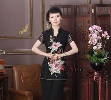 Verano sexy negro mujer de encaje bordado camisa tradicional china clothing flor blusas tops tamaño ml xl xxl xxxl td9-2