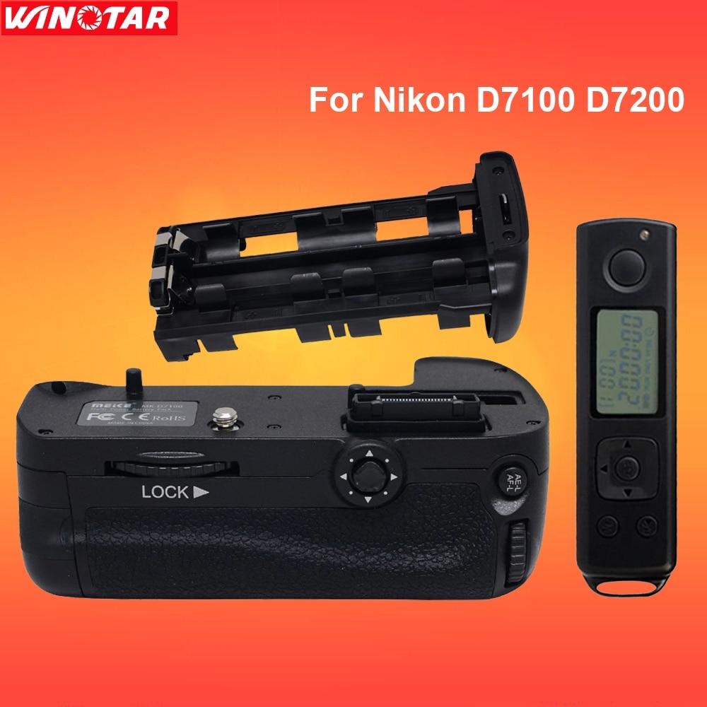 Meike DR7100 Vertical Battery Grip hand pack holder Remote Control For Nikon D7100 D7200 camera MB-D15 puluz pu2503 vertical replacement camera battery grip battery holder for nikon d7100 d7200 digital slr camera
