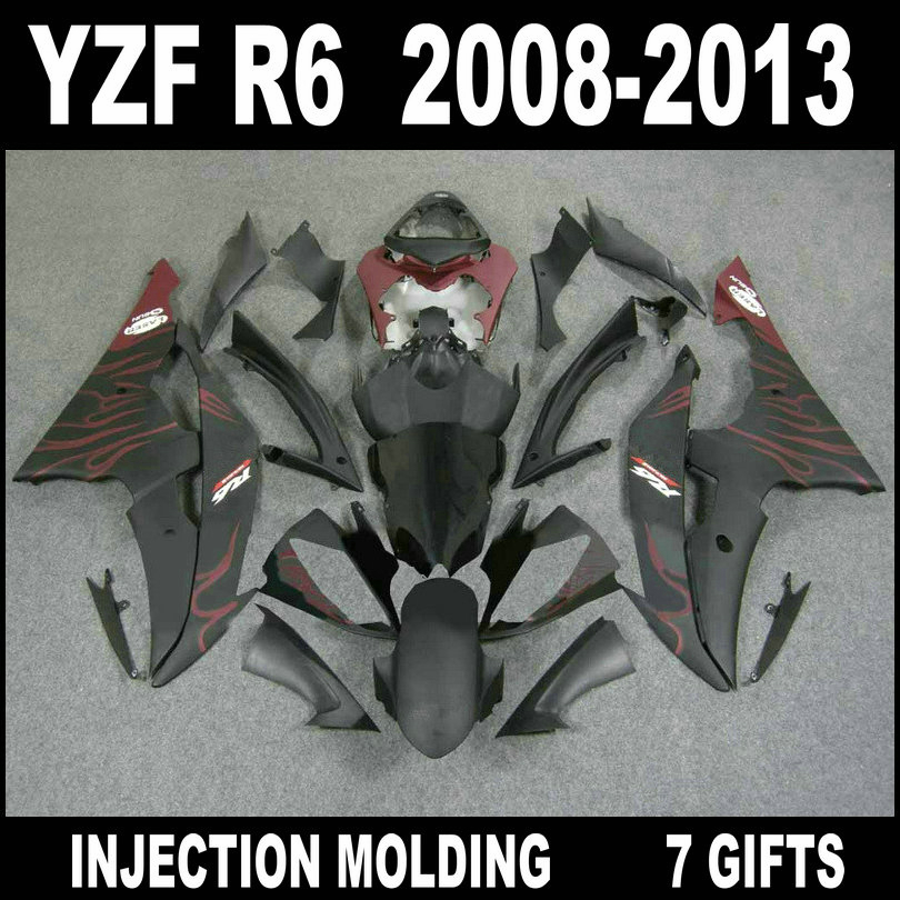 High grade fairings for YZF R6 2008 - 2013 flat black with wine red flames fairings YAMAHA R6 08 09 10 11 12 13 fairing set hot bodywork fairings set for yamaha injection molding yzf r6 2006 2007 red black santander yzf r6 06 07 fairing kit hy42