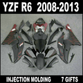 High grade fairings for YZF R6 2008 - 2013 flat black with wine red flames fairings YAMAHA R6 08 09 10 11 12 13 fairing set