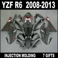 High grade fairings for YZF R6 2008 2013 flat black with wine red flames fairings YAMAHA R6 08 09 10 11 12 13 fairing set