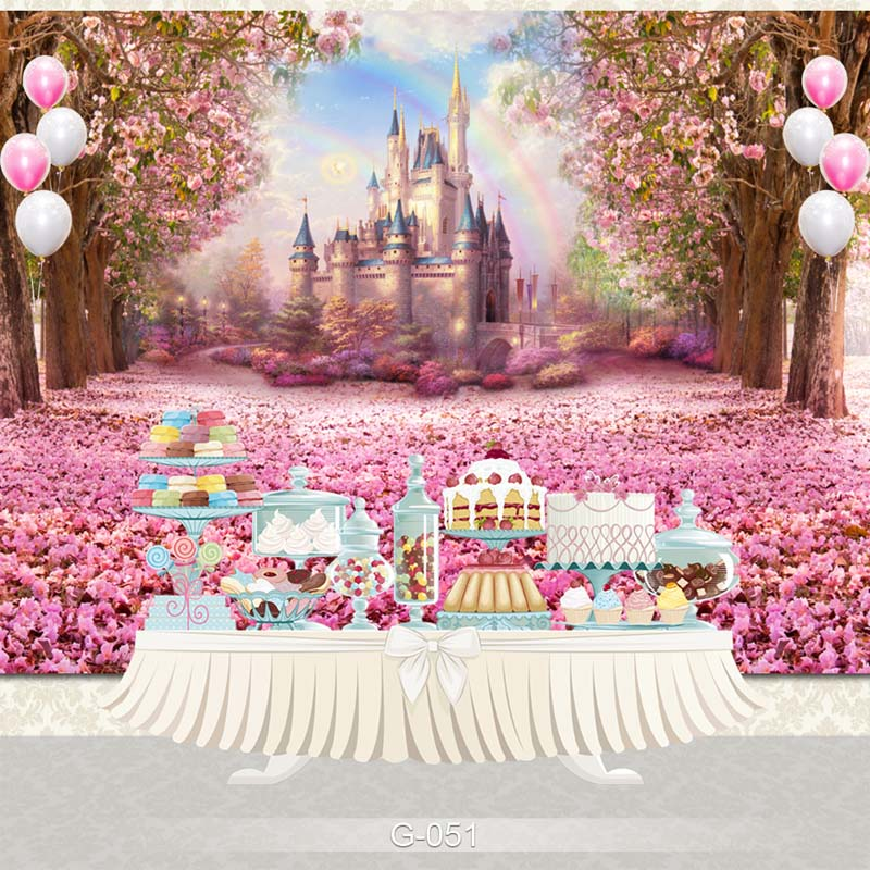 Vinyl Photography Backdrop Cartoon Castle Palace Pink Flower Birthday Party Children Backdgrounds for Photo Studio G-051 backdrop baby 6 5x10ft 200x300cm prince castle vintage castle vinyl backdrop