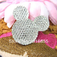 Free Shipping 100pcs Lot 35 30mm Crystal Mickey Head Shape Flatback Resin Rhinestone For DIY Decorative