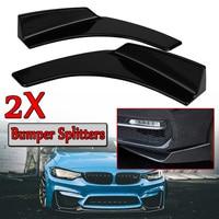 A Pair Universal Black Car Front Deflector Spoiler Splitter Diffuser Bumper Canard Lip ABS Plastic Decorative Protection