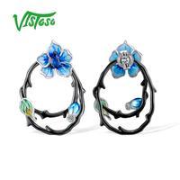VISTOSO Sterling Silver Earrings Jewelry Earrings 925 Sterling Silver For Women Enamel Fine Jewelry