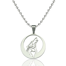 Howling Wolf Pendant Necklaces Stainless Steel Necklace Fashion Punk Women Men Jewelry