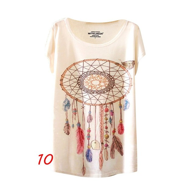 HTB1abz0NFXXXXX4XXXXq6xXFXXXn - Fashion Summer Animal Cat Print Shirt O-Neck Short Sleeve