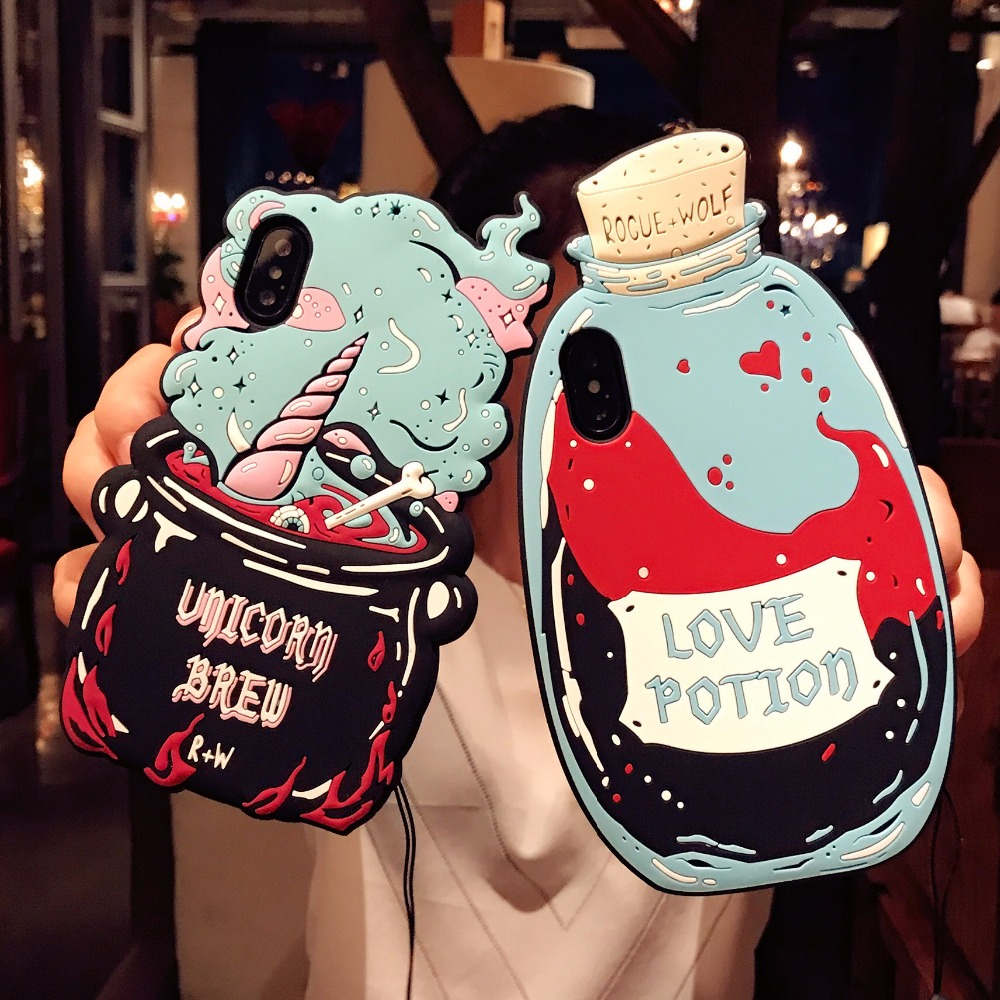 DOEES 3D Cute Love Potion Unicorn Brew Soft Silicone Phone Bag Case Cover Skin For iPhone 6 6S Plus 7 Plus 8 Plus X Fundas