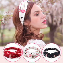 Women Summer Headbands Turban Elastic Hairband Chiffon Headband Flamingo Wide Hair Band Headwrap Women Hair Accessories Headwear amazing 0723 women lace headbands girls elastic hairband hair accessories headwear