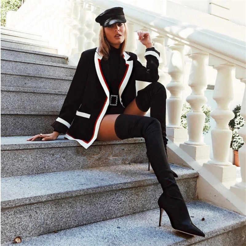 Prova Perfetto 2019 ירך גבוהה מגפיים מעל הברך אלסטי למתוח מגפי נשים botas mujer סקסי הברך גבוהה עקבים גרב מגפי חדש