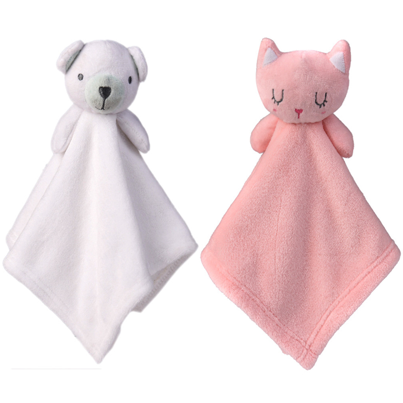 Baby Toys Cartoon Bunny Puppy Soothing Towel Appease Plush Toy Super Soft Security Blanket Sleep Friend Baby Crib Rattle  02N