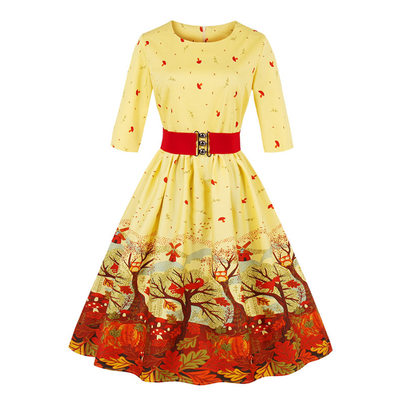 Plus Size 4XL Autumn Dress Women Swing Rockabilly Leaves Print 50s 60s Vintage Dress With Belt Midi Sleeve Elegant Party Dresses
