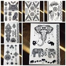 25 Styles Waterproof Black Henna Tattoos Elephant Owl Dreamcatcher Tatoo Body Art Decals Fake Temporary Tattoo Stickers
