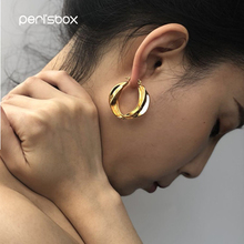 PerisBox 2018 Designer Gold Color Big Twisted Hoop Earrings for Women Hyperbole Geometric Chic Statement