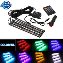 Car styling Wireless Remote/Music/Voice Control Interior Floor Foot Decoration Light Cigarette LED Atmosphere RGB Neon LampStrip-in Decorative Lamp from Automobiles & Motorcycles on AliExpress