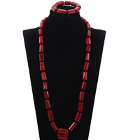 High Quality Men Coral Beads Necklace Bracelet Set 30 inches Nigerian Wedding Groom Jewelry Set Free Shipping CG026