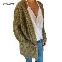2017 otoño y invierno nuevo suéter color sólido armygreen larga bolsillo brazalete suéter Chaquetas
