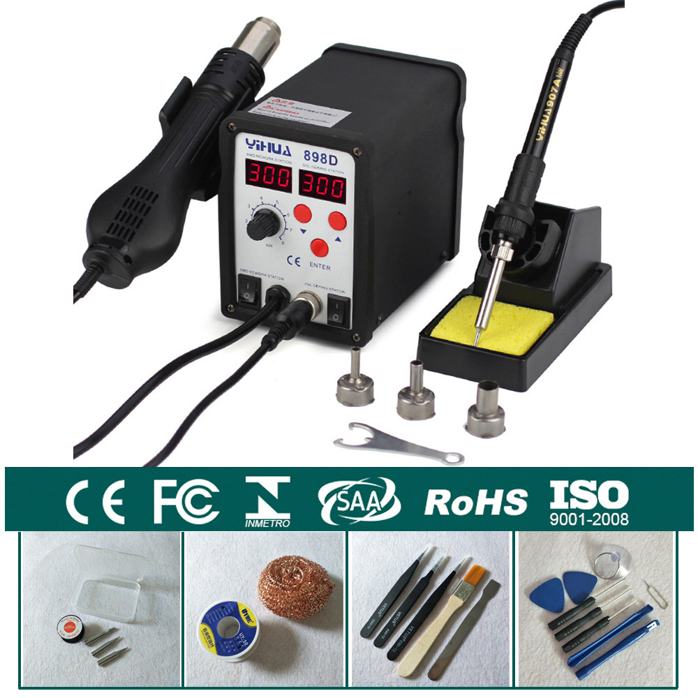 2 in1 Rework Station Hot Air Gun + Solder Iron SMD Hot Iron Soldering Station YIHUA 898D 2 in1 smd rework soldering station solder iron welder hot air gun esd 3 nozzles for welding desoldering repair