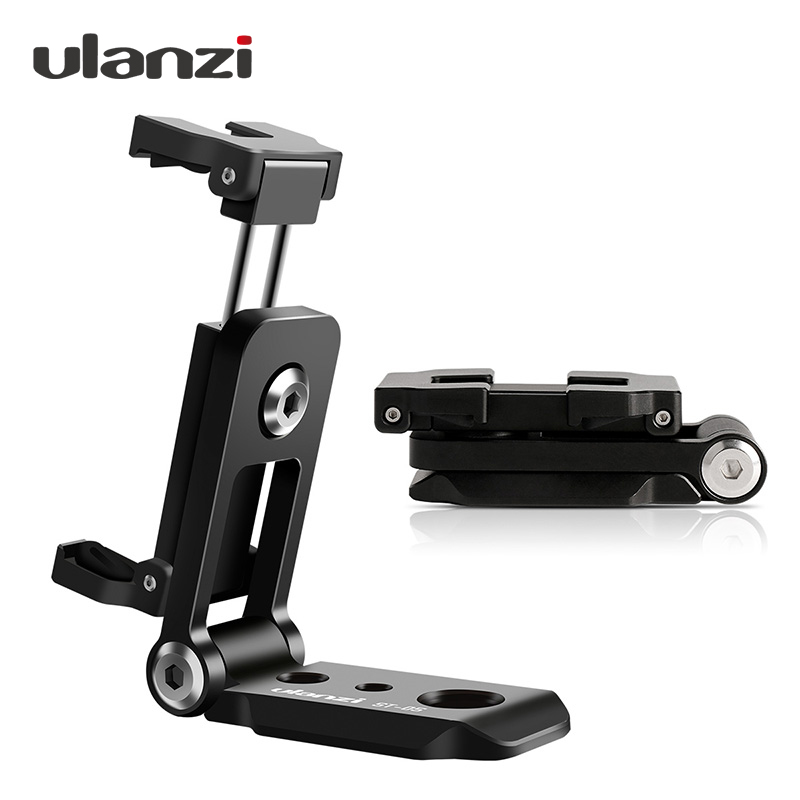 Ulanzi ST-05 Foldable Tripod Mount Adapter Phone Clipper Holder Vertical 360 Tripod Stand Quick Release Plate for Tripod Mic adjustable recording mic microphone stand bracket tripod with dual phone holder multi function tripod tablet phone holder stand
