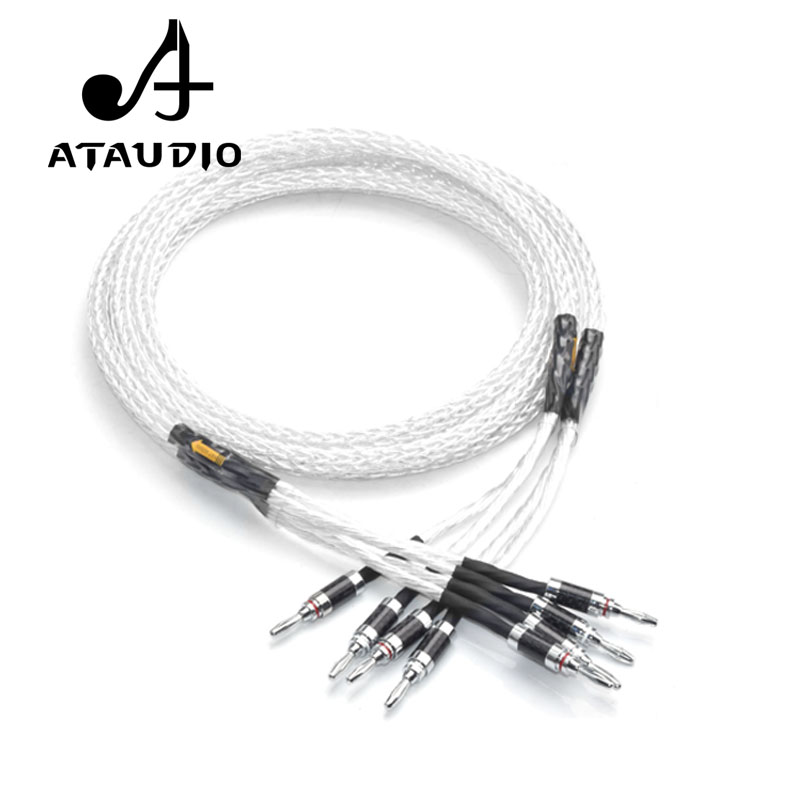 ATAUDIO Silver plated Hifi 8ag Speaker Cable High Performance 6N OCC HIFI Speaker Wire With Carbon