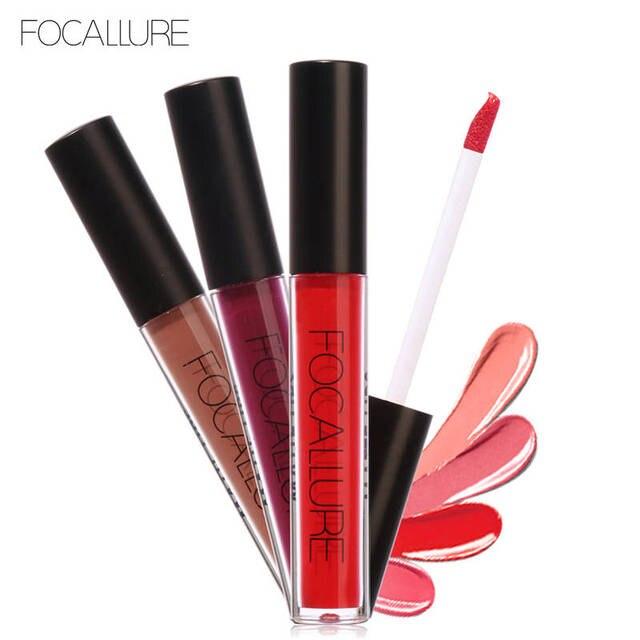 FOCALLURE Liquide Lipgloss Glitter Métallique Rouge À Lèvres Maquillage Cosmétiques En Métal Lèvres Tache Rouge Brun Mat Brillant À Lèvres Mat-rouge à lèvres
