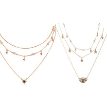 10pcs Fashion Gold Color Choker Necklace Short Crystal Stars Eye Pendant Chain Jewelry Layered for Women