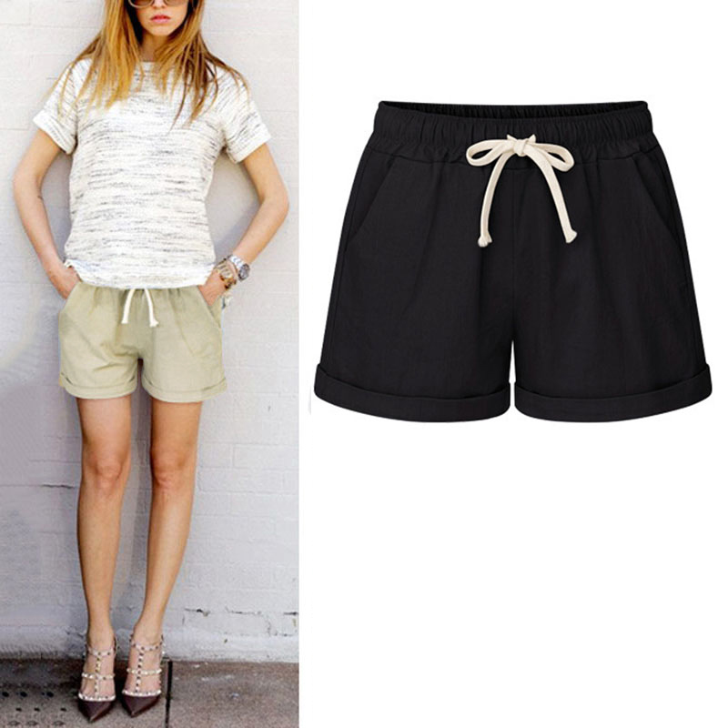 Summer Women Wide Leg Shorts Cotton High Waist Drawstring Pockets Girl Casual Shorts Plus Size M-6XL PO66
