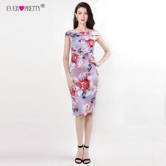 16b16f44c2 Knee Length Mother of The Bride Dresses EZ07653 Elegant Off The Shoulder  Floral Print Short Party Gown Ever Pretty Vestido Novia